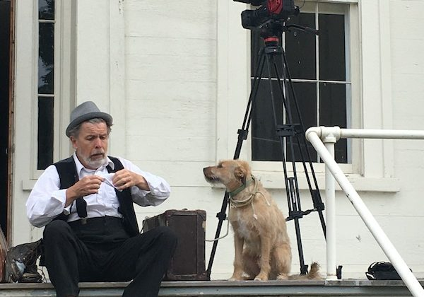 Chris O'Connor and dog Frankie in Two Gentlemen of Verona